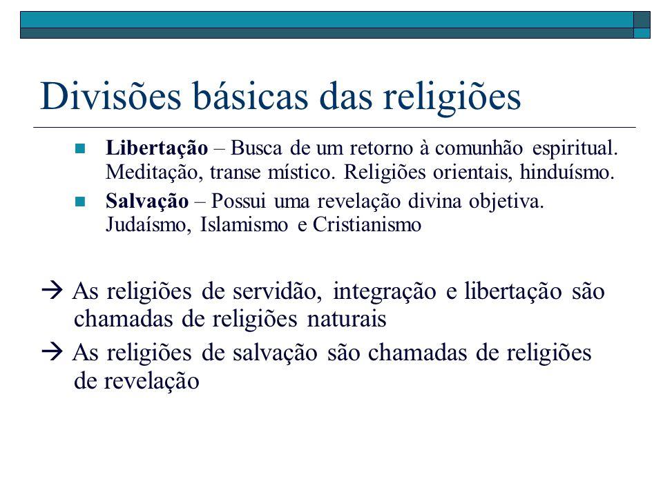 Divisões básicas das religiões