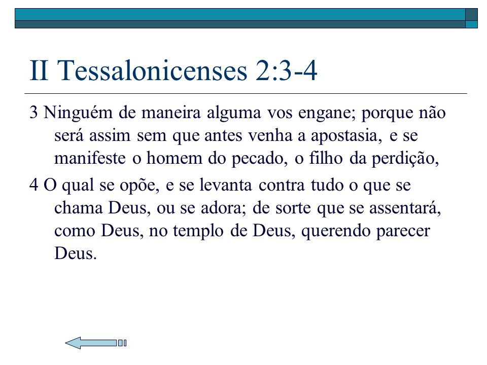 II Tessalonicenses 2:3-4