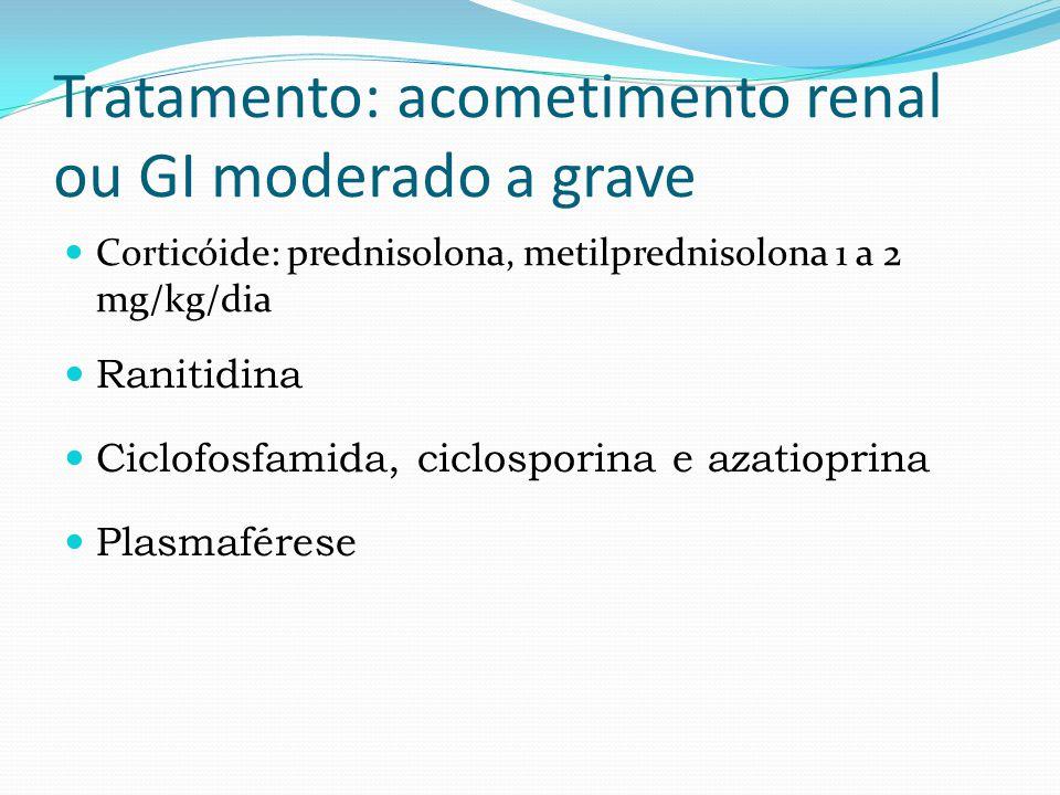Tratamento: acometimento renal ou GI moderado a grave