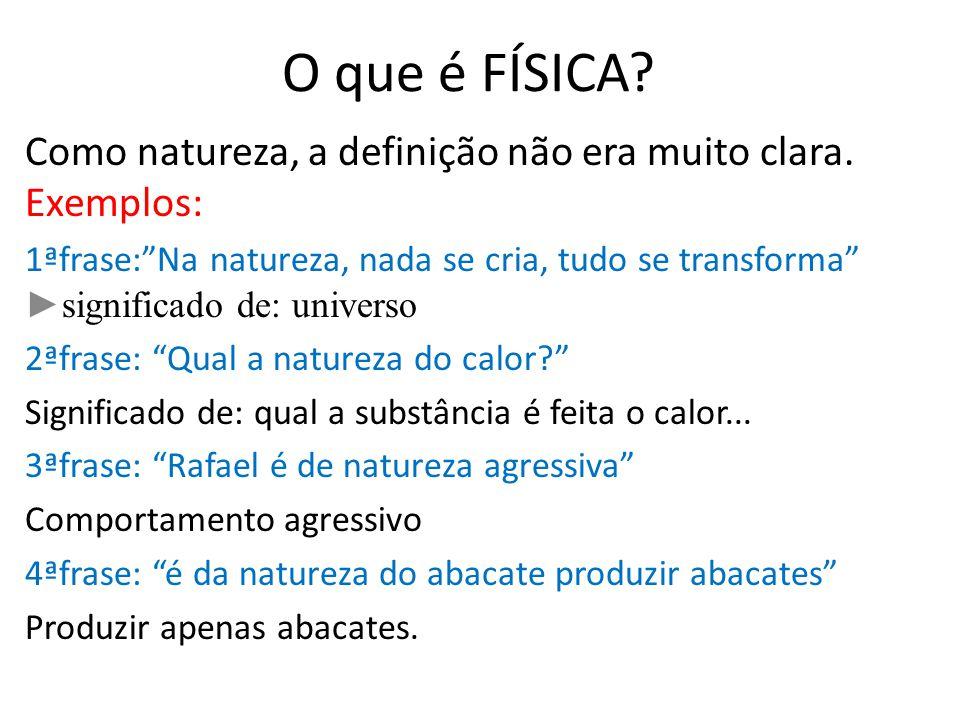 O que é FÍSICA Como natureza, a definição não era muito clara. Exemplos:
