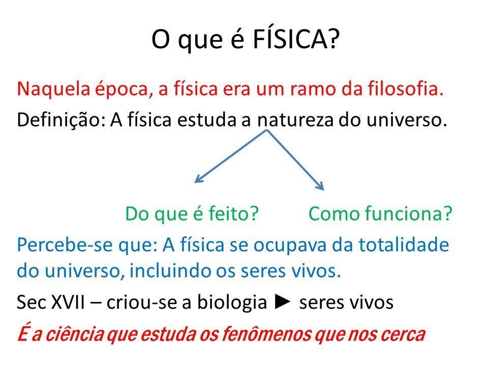 O que é FÍSICA Naquela época, a física era um ramo da filosofia.