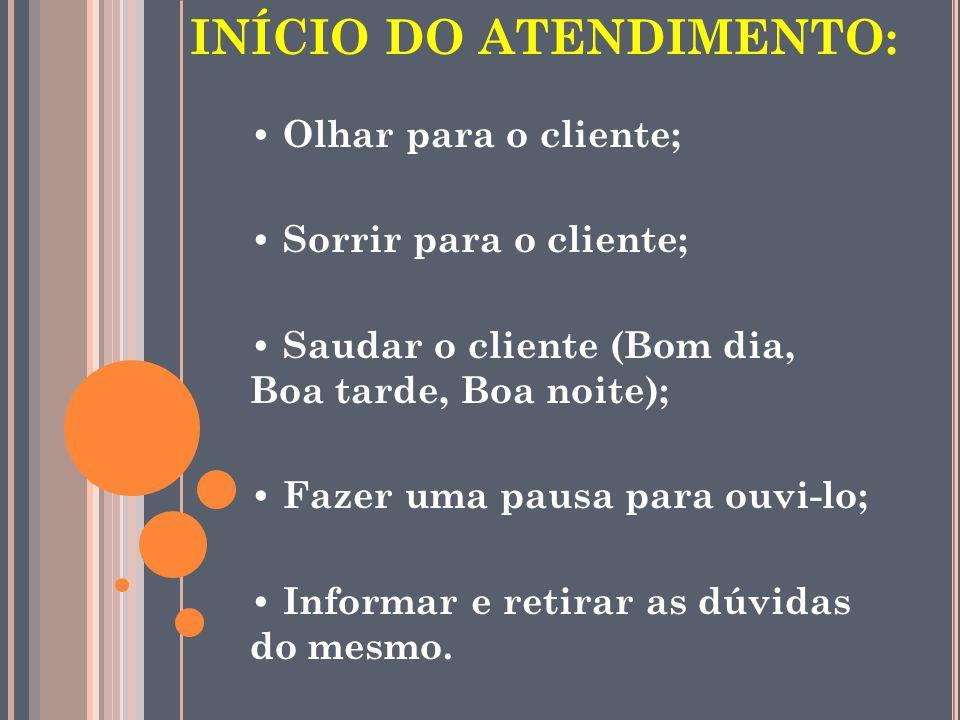 INÍCIO DO ATENDIMENTO: