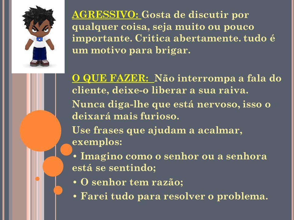 AGRESSIVO: Gosta de discutir por qualquer coisa, seja muito ou pouco importante. Critica abertamente. tudo é um motivo para brigar.