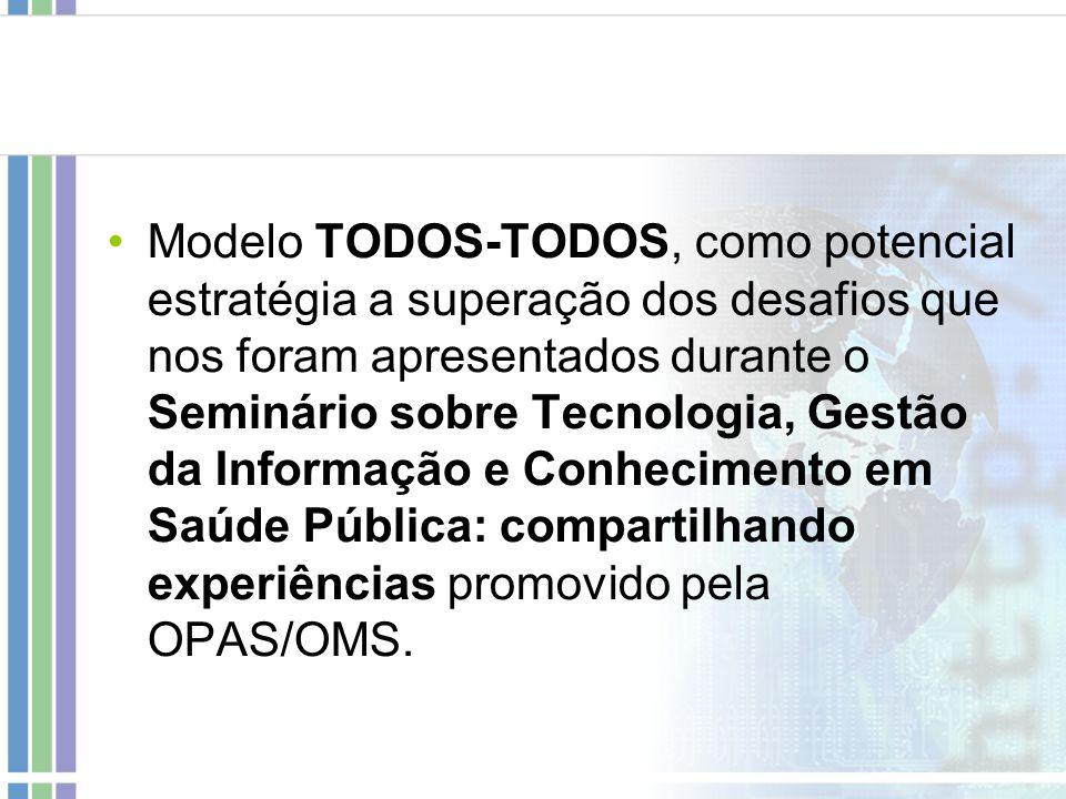 Modelo TODOS-TODOS, como potencial estratégia a superação dos desafios que nos foram apresentados durante o Seminário sobre Tecnologia, Gestão da Informação e Conhecimento em Saúde Pública: compartilhando experiências promovido pela OPAS/OMS.