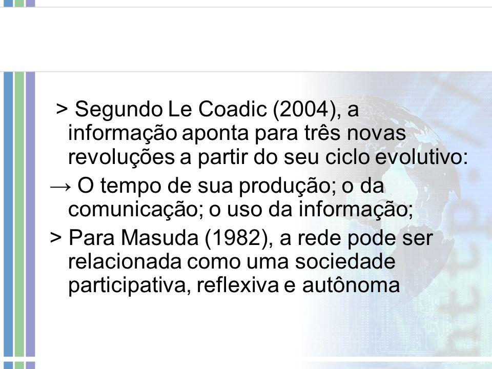 > Segundo Le Coadic (2004), a informação aponta para três novas revoluções a partir do seu ciclo evolutivo: