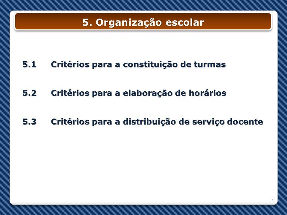 5. Organização escolar 5.1 Critérios para a constituição de turmas