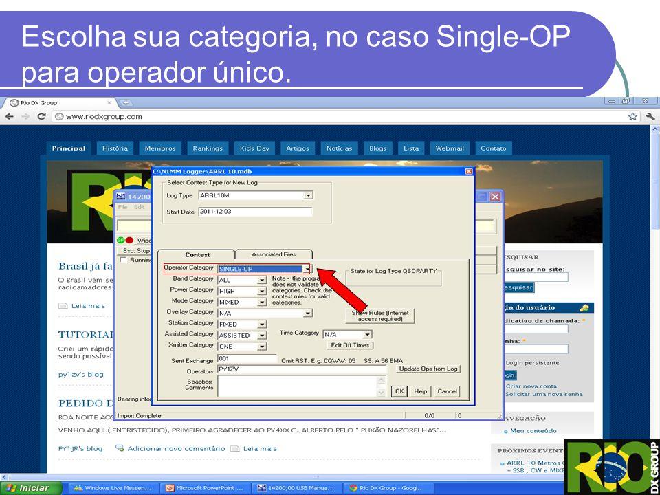 Escolha sua categoria, no caso Single-OP para operador único.