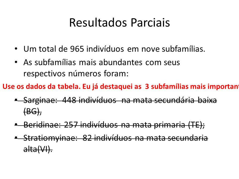 Resultados Parciais Um total de 965 indivíduos em nove subfamílias.