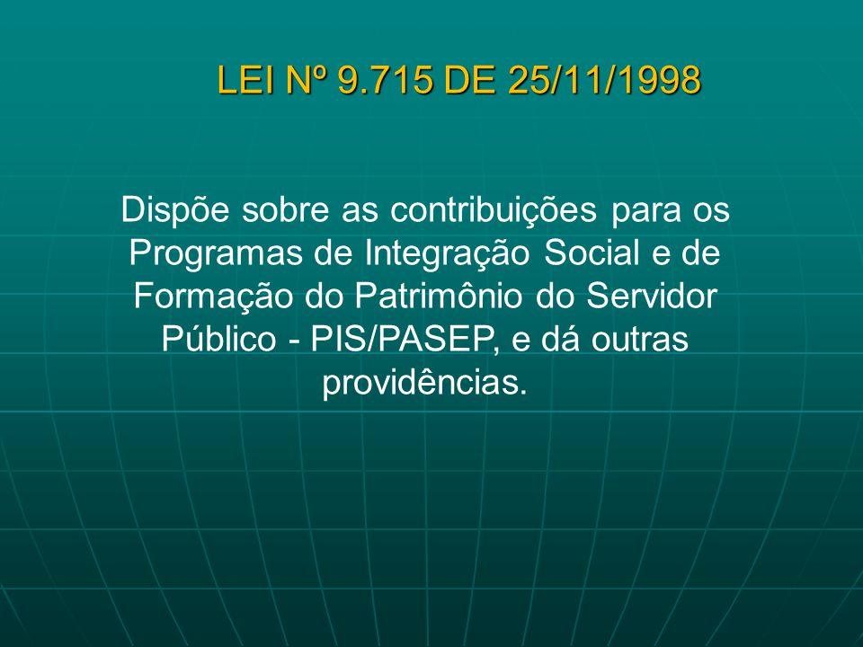 LEI Nº 9.715 DE 25/11/1998