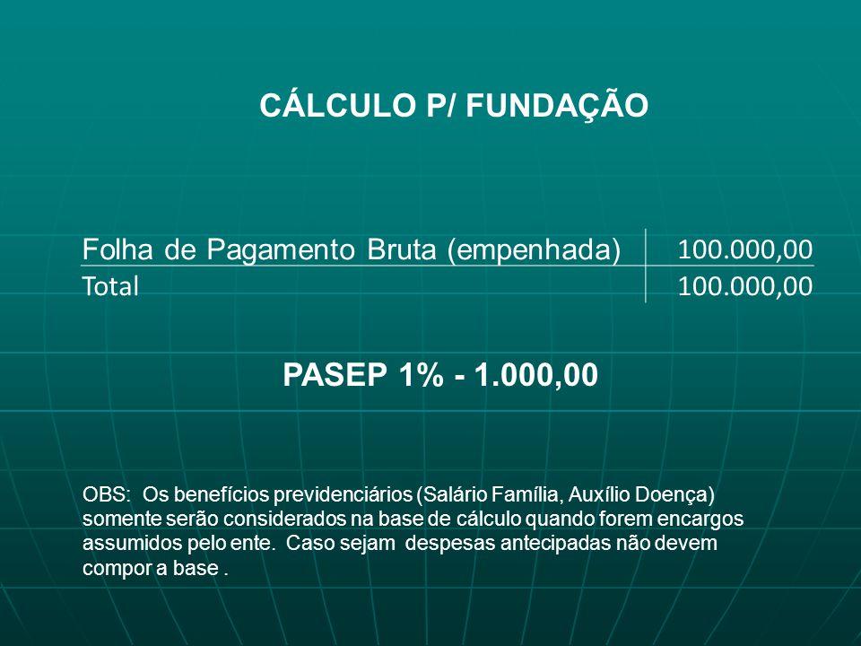 CÁLCULO P/ FUNDAÇÃO PASEP 1% - 1.000,00