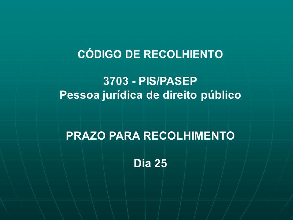 Pessoa jurídica de direito público PRAZO PARA RECOLHIMENTO