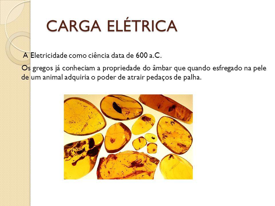 CARGA ELÉTRICA A Eletricidade como ciência data de 600 a.C.