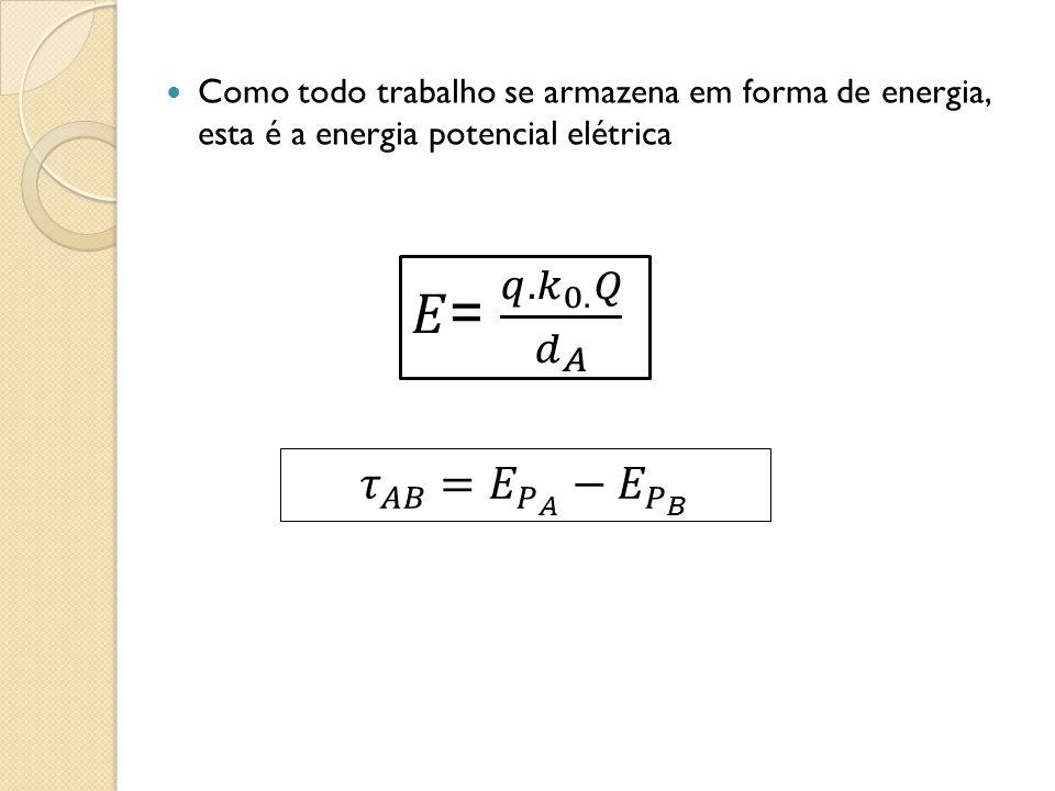 Como todo trabalho se armazena em forma de energia, esta é a energia potencial elétrica