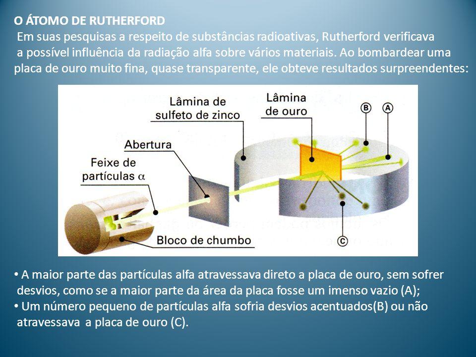 O ÁTOMO DE RUTHERFORD Em suas pesquisas a respeito de substâncias radioativas, Rutherford verificava.