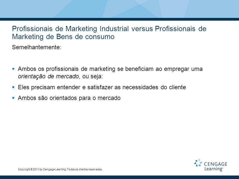 Profissionais de Marketing Industrial versus Profissionais de Marketing de Bens de consumo