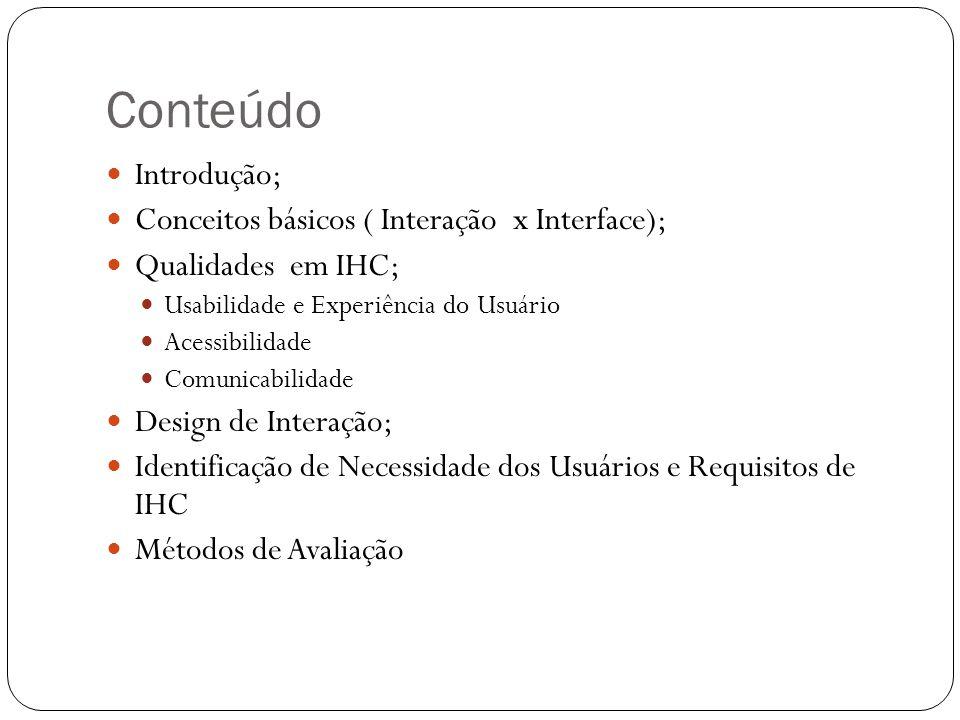 Conteúdo Introdução; Conceitos básicos ( Interação x Interface);