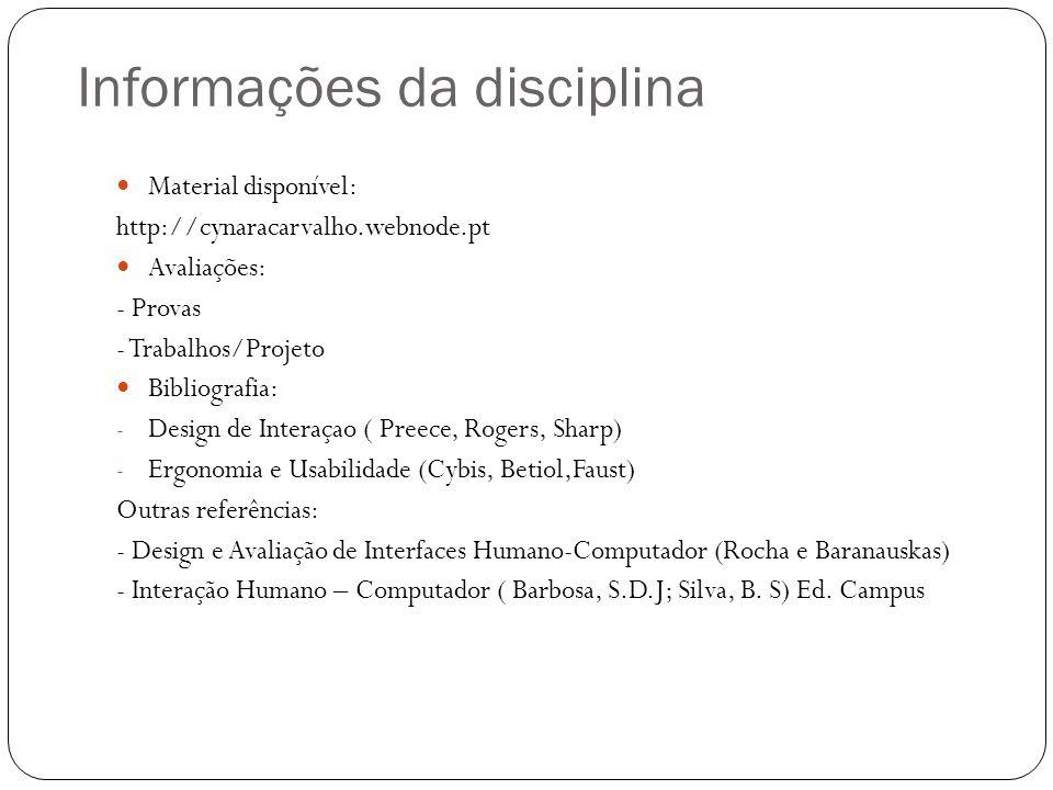 Informações da disciplina