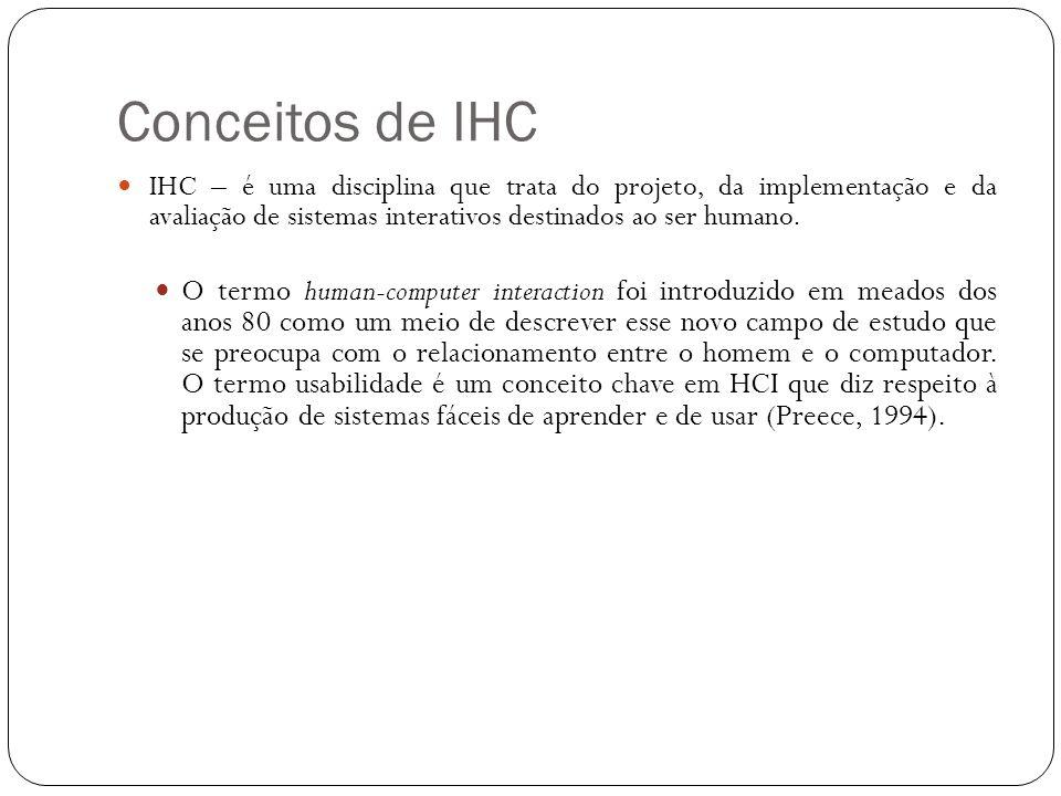 Conceitos de IHC IHC – é uma disciplina que trata do projeto, da implementação e da avaliação de sistemas interativos destinados ao ser humano.