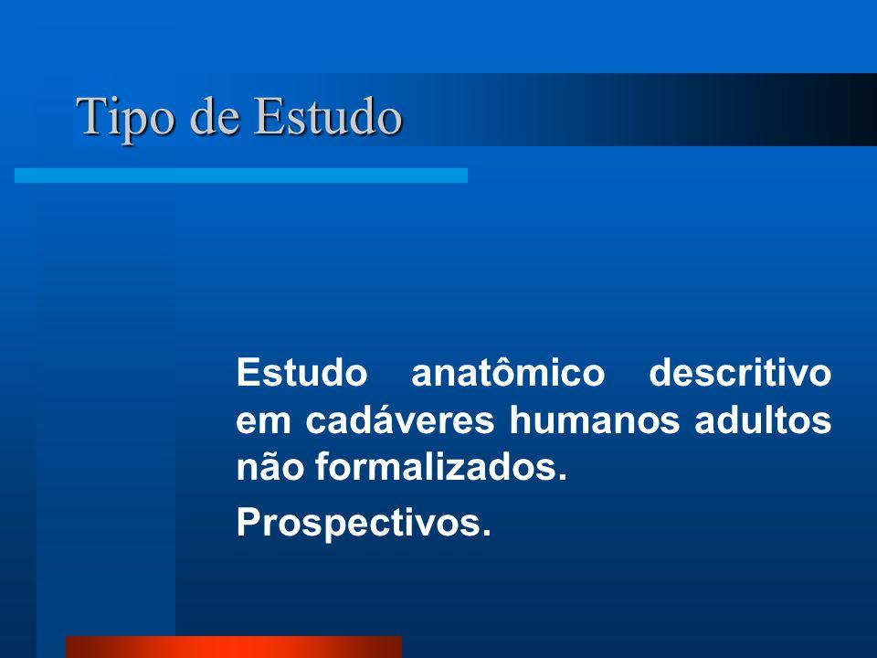 Tipo de Estudo Estudo anatômico descritivo em cadáveres humanos adultos não formalizados.