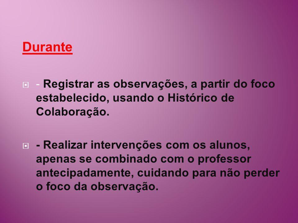 Durante - Registrar as observações, a partir do foco estabelecido, usando o Histórico de Colaboração.