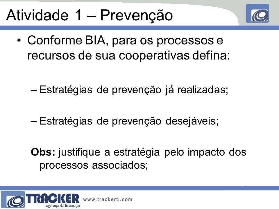 Atividade 1 – Prevenção Conforme BIA, para os processos e recursos de sua cooperativas defina: Estratégias de prevenção já realizadas;