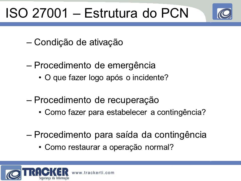 ISO 27001 – Estrutura do PCN Condição de ativação
