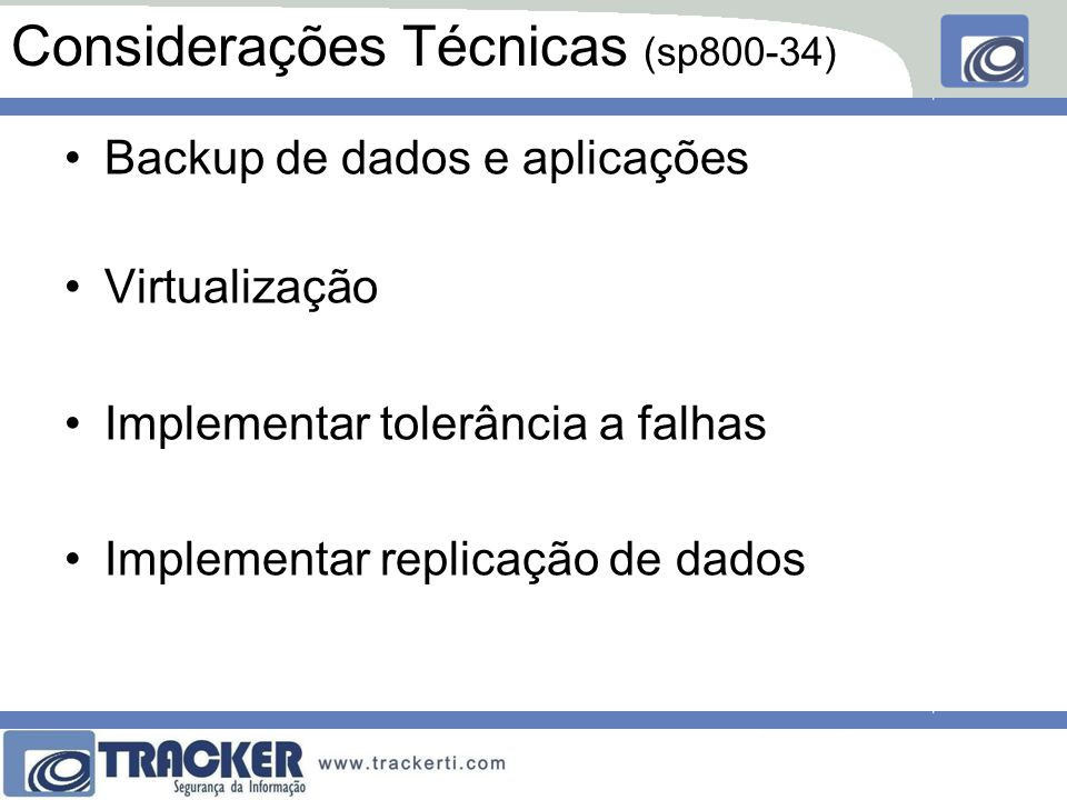 Considerações Técnicas (sp800-34)