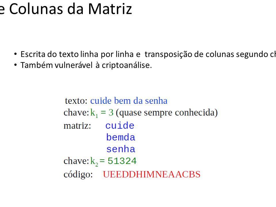 Transposição de Colunas da Matriz