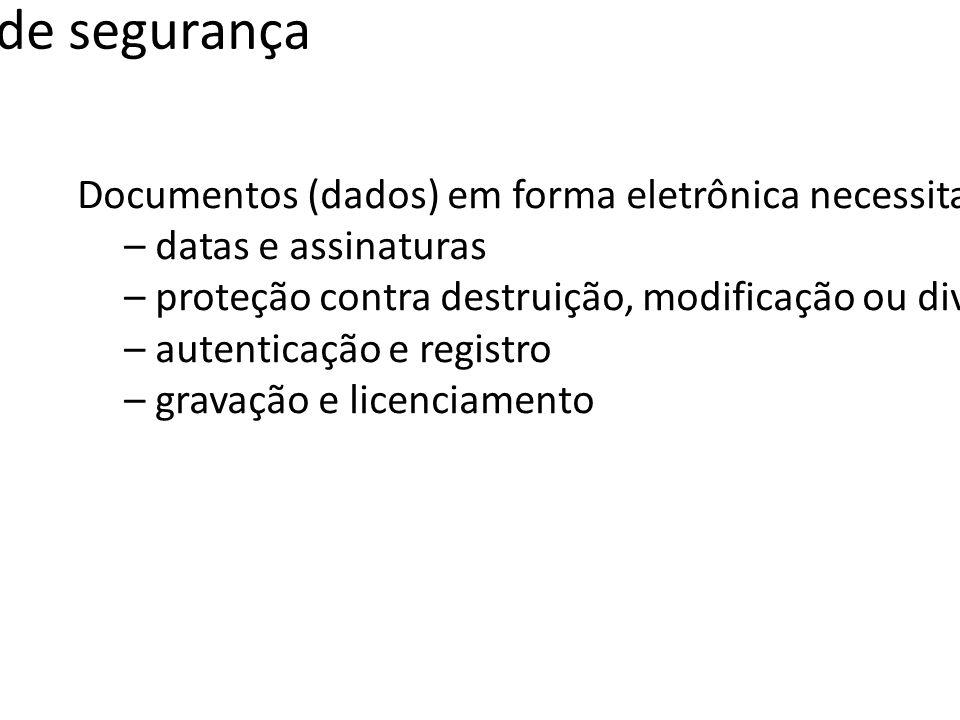 Serviços de segurança Documentos (dados) em forma eletrônica necessitam dos mesmos serviços (funções) associados aos seus pares em papel.