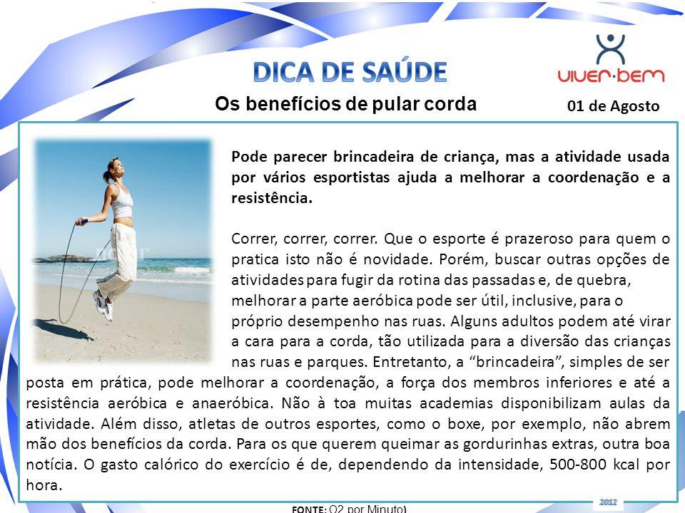 DICA DE SAÚDE Os benefícios de pular corda 01 de Agosto