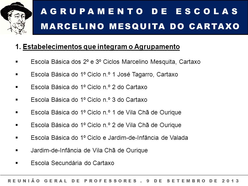 REUNIÃO GERAL DE PROFESSORES . 9 DE SETEMBRO DE 2013