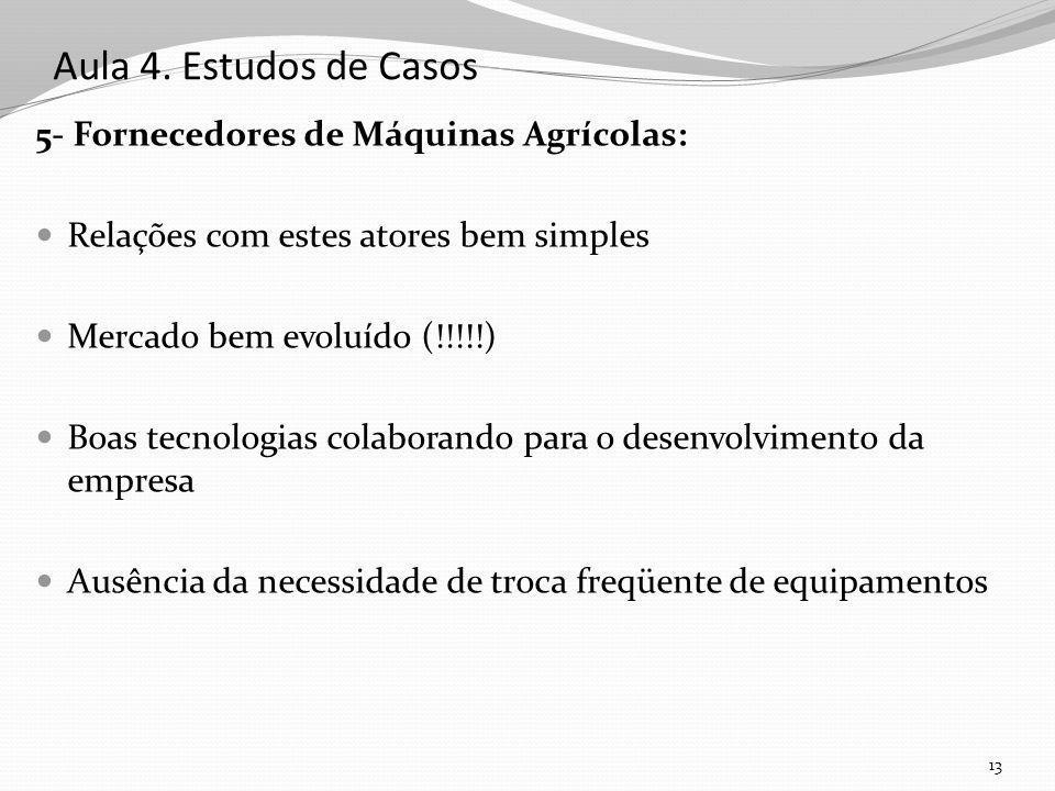 Aula 4. Estudos de Casos 5- Fornecedores de Máquinas Agrícolas: