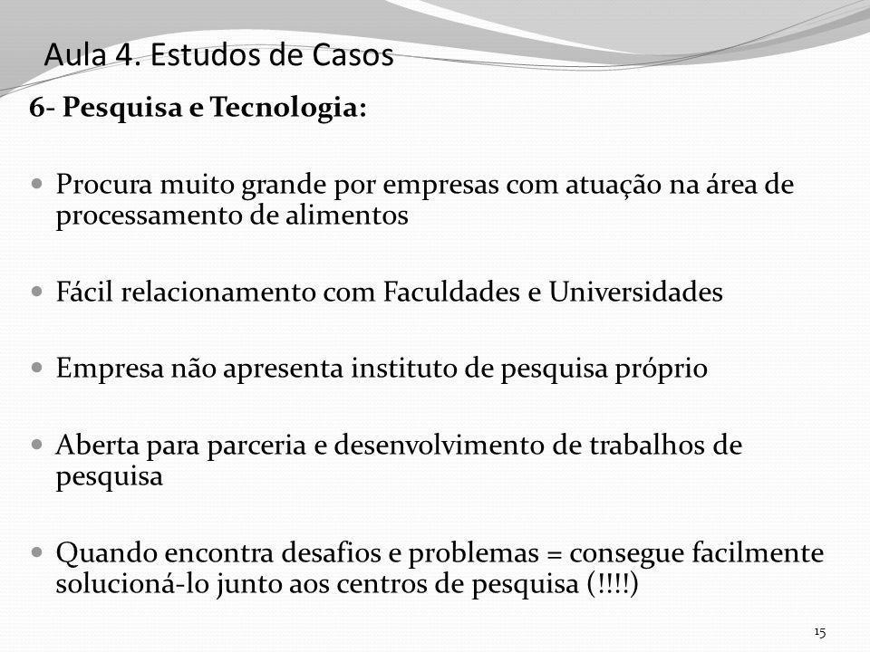 Aula 4. Estudos de Casos 6- Pesquisa e Tecnologia: