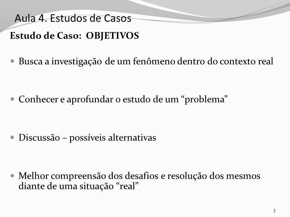 Aula 4. Estudos de Casos Estudo de Caso: OBJETIVOS