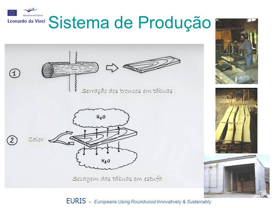 Sistema de Produção Serração dos troncos em tábuas Calor