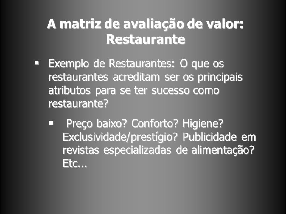 A matriz de avaliação de valor: Restaurante