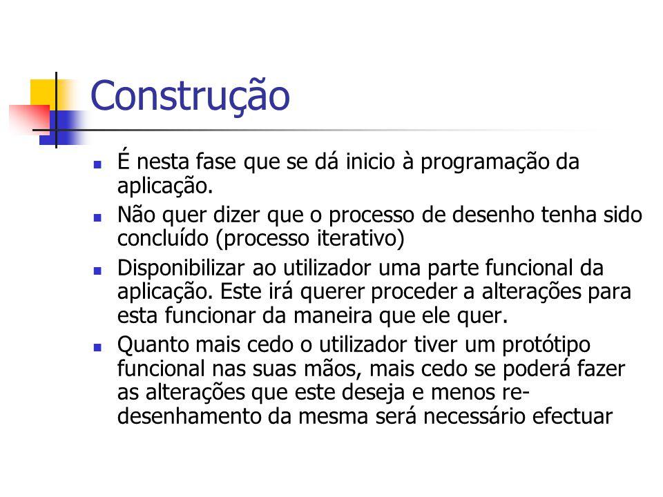 Construção É nesta fase que se dá inicio à programação da aplicação.