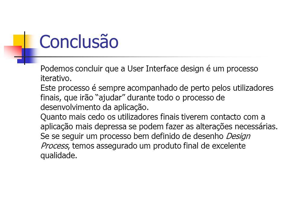 Conclusão Podemos concluir que a User Interface design é um processo