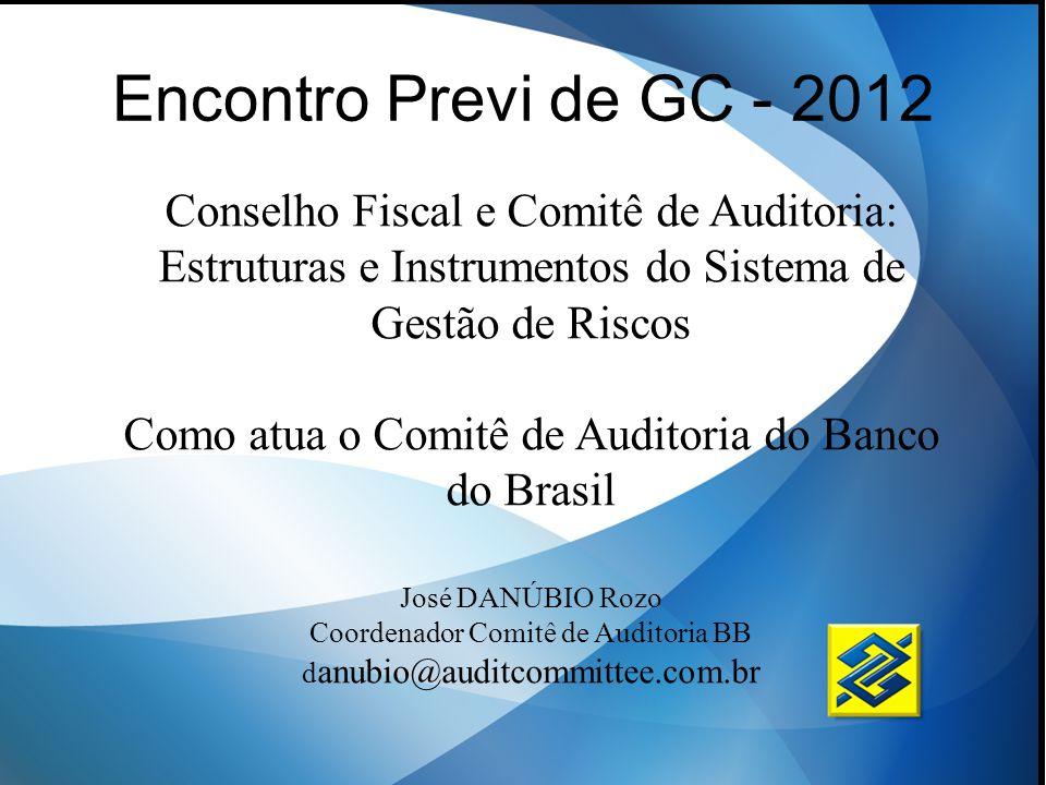 Encontro Previ de GC - 2012 Conselho Fiscal e Comitê de Auditoria: Estruturas e Instrumentos do Sistema de Gestão de Riscos.