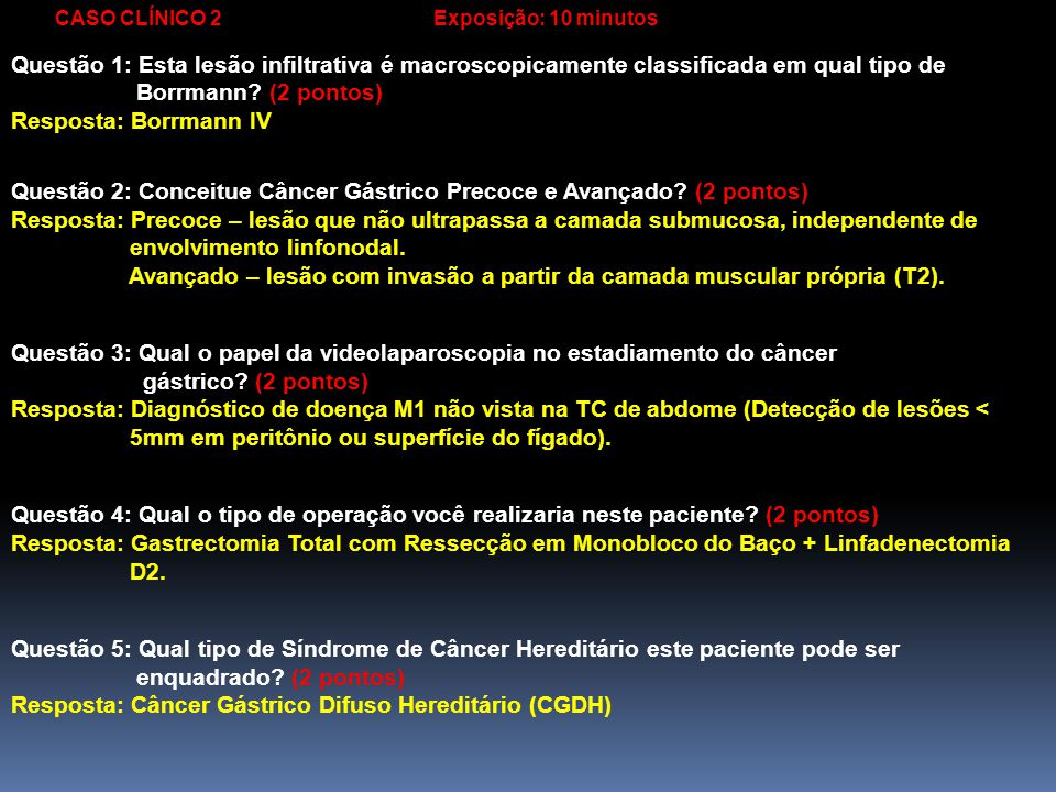 Questão 2: Conceitue Câncer Gástrico Precoce e Avançado (2 pontos)