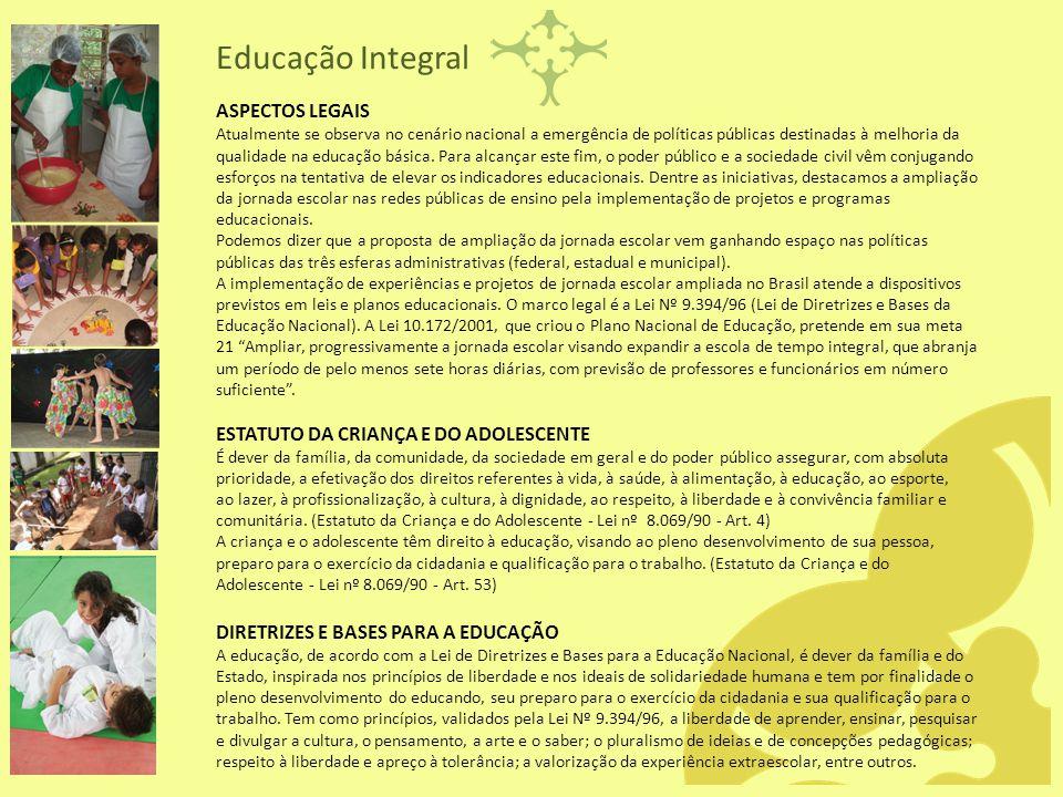 Educação Integral ASPECTOS LEGAIS ESTATUTO DA CRIANÇA E DO ADOLESCENTE