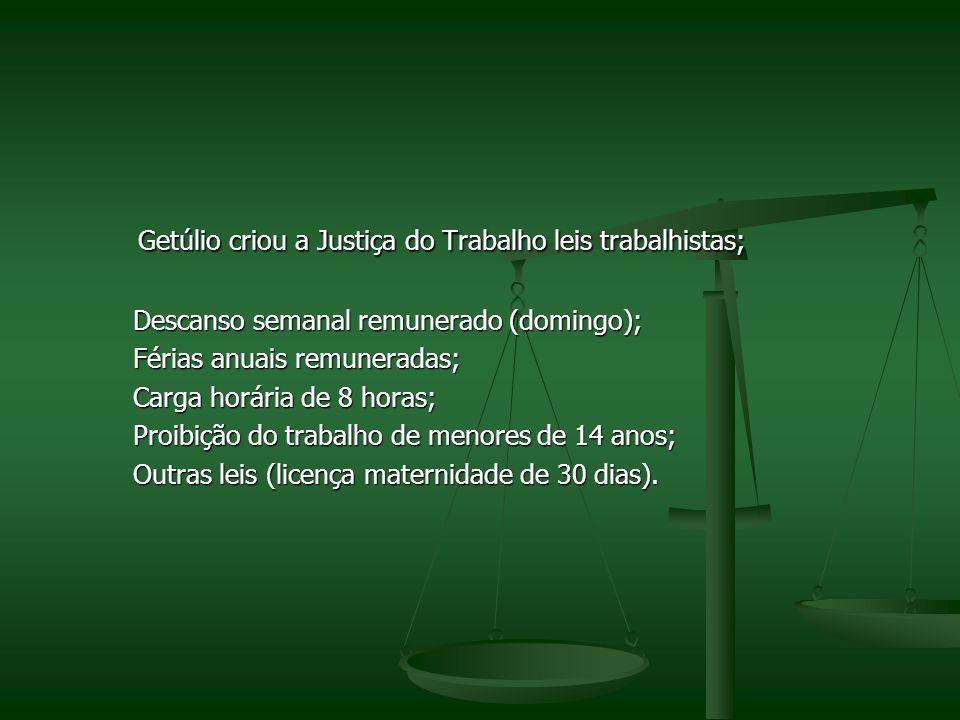 Getúlio criou a Justiça do Trabalho leis trabalhistas;