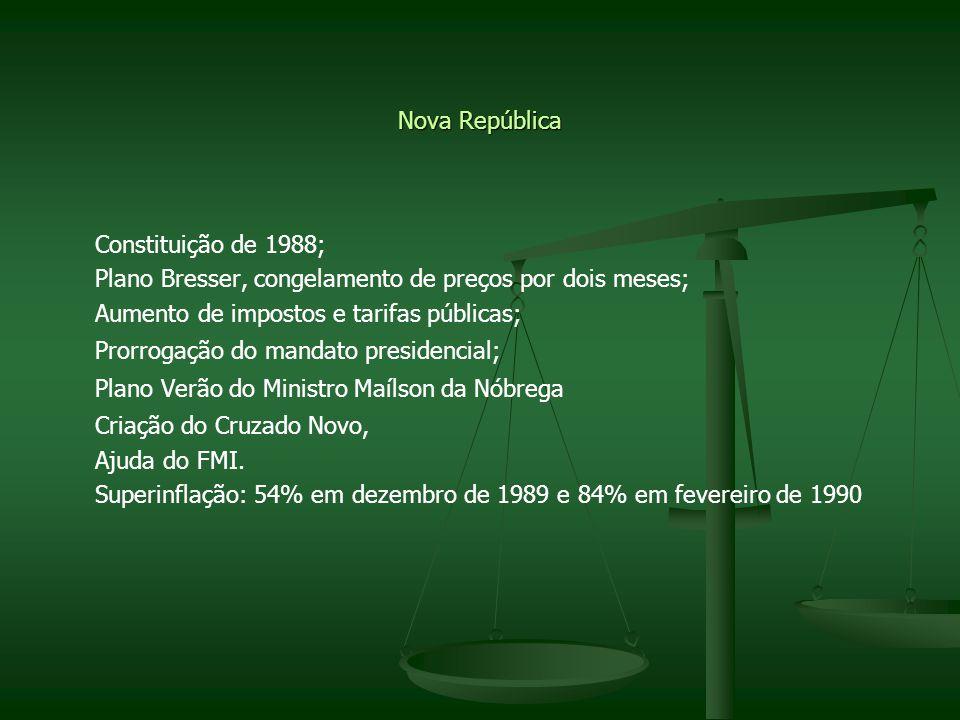 Nova República Constituição de 1988; Plano Bresser, congelamento de preços por dois meses; Aumento de impostos e tarifas públicas;