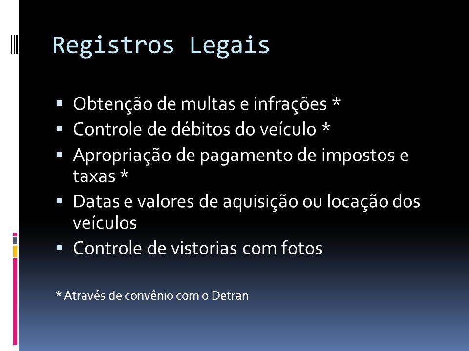 Registros Legais Obtenção de multas e infrações *