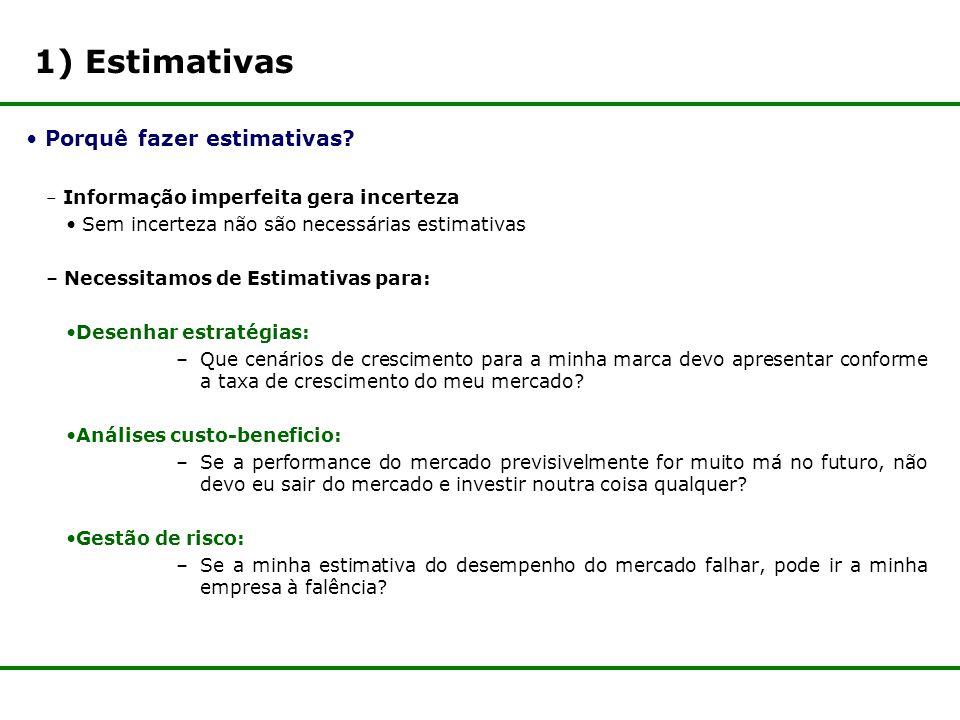 1) Estimativas Porquê fazer estimativas