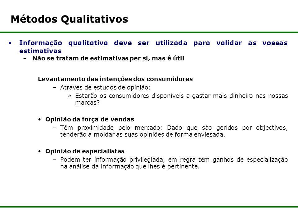 Métodos Qualitativos Informação qualitativa deve ser utilizada para validar as vossas estimativas. Não se tratam de estimativas per si, mas é útil.