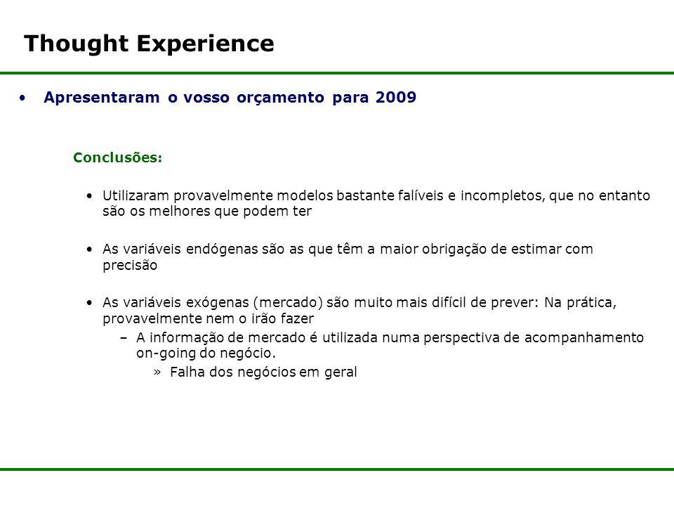 Thought Experience Apresentaram o vosso orçamento para 2009