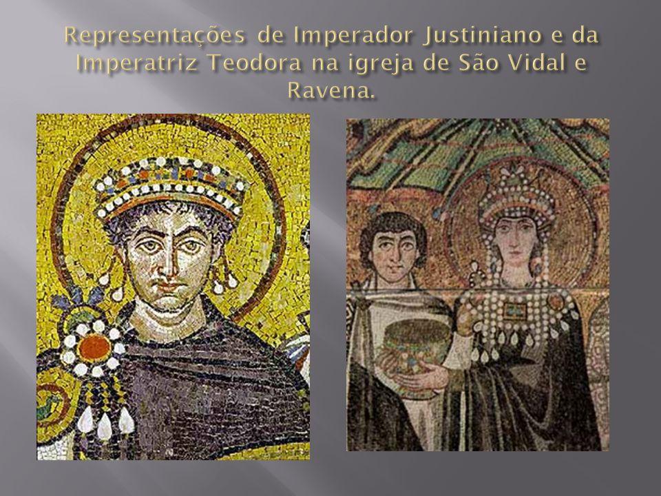 Representações de Imperador Justiniano e da Imperatriz Teodora na igreja de São Vidal e Ravena.