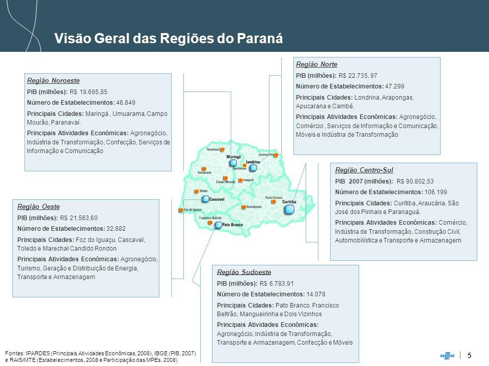 Visão Geral das Regiões do Paraná