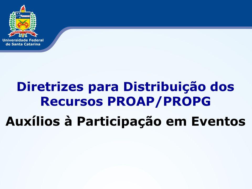 Diretrizes para Distribuição dos Recursos PROAP/PROPG